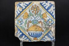 Antique 17th century Dutch Delft Polychrome Tile, Flowers