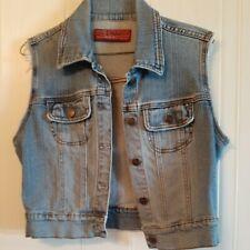 Hot Kiss Brand Juniors  Denim Distressed Vest Size Large. Machine washable!