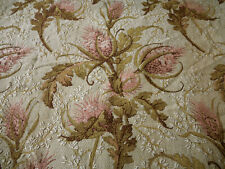 Antique French Romantic Rococo Figural Floral Cartouche Fabric ~ Brown Gray Pink