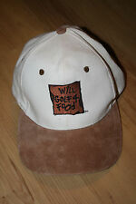 """Vtg. """"Will Golf 4 Food"""" White Adjustable Baseball Cap Hat by KC w/ Leather Strap"""