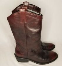 Jessica Simpson Size 7.5 B/37.5 Brown Leather Pull On Cowgirl Boots Western