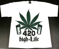 Marijuana T-shirt 420  Weed THC Cannabis HIGH LIFE Tee Adult Men White New