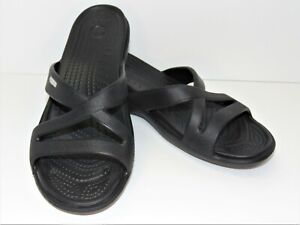 Crocs Womens Black Strappy Slides Wedge Heel Slip On Sandals Size 8
