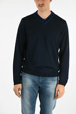 ARMANI men Knitwear Sz L COLLEZIONI Blue Sweater V-Neck Long Sleeve Pullover ...