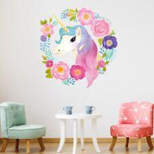 1X Wreath Flowers Unicorn Wall Stickers Kids Girls Bedroom Decal Rome Decor QAQ