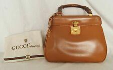 GUCCI Handbag Bamboo Top Handle Purse 000.406.0190 Camel Brown Leather (A6553LV)