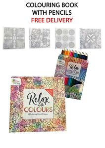 ADULT COLOURING BOOK. RELAX COLOUR. WATERCOLOUR.  WITH  PENCILS. TALLON