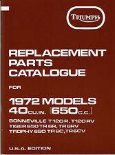 1972 Triumph T120, OIF Bonneville, Tiger, Trophy OEM, NEW, PARTS CATALOGUE, F/SH