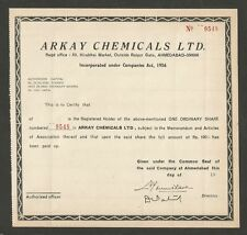 India Arkay Chemicals Ltd share certificate
