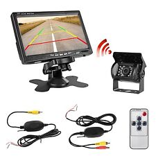 "US Wireless Car Rear View Back up Camera+ 7"" Monitor for Rv Truck Trailer 12-24V"