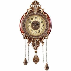 "Wooden Metal Wall Clock Pendulum Modern Mahogany Ornate Carved 32"" x 14"" x 3"""