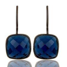 Oxidized Sterling Silver Sapphire Blue Corundum Gemstone Dangle Earrings