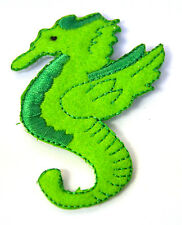 GREEN SEAHORSE SEA HORSE   Embroidered Iron Sew On Cloth Patch Badge APPLIQUE