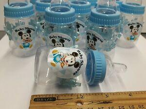 12 Blue Fillable baby bottle Decorations BabyShower PLASTIC DIY -mickey