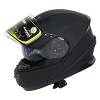 Matte Black DOT Dual Visor Full Face Modular Flip Up off-road Helmet Sun Shield