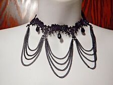 BLACK NARROW ARCHED LACE CHOKER w/ multi-strand draping chains goth necklace #U2