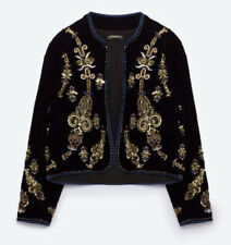 Zara Woman RARE Embrodiery Jacket NEW Velvet Sequin Small