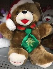 """2018 WalMART CHRISTMAS Snowflake TEDDY BEAR Brown A Boy 13"""" Red Outfit Brand New"""