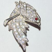 Vintage signed Roma pave rhinestone silver tone bird on branch small pin brooch