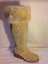 New Look Beige Knee High Suede Boots Size 6