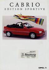 Opel Cabrio Edition Sportive Kadett E Prospekt 1992 8/92 D brochure prospectus