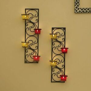 Decorative Wall Sconce/Candle Holder With Red Glass & Free T-Light Candles-2 Set
