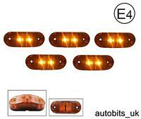 5 X AMBER ORANGE 12V 2 LED SIDE MARKER INDICATORS LIGHTS TRUCK TRAILER E-MARKED