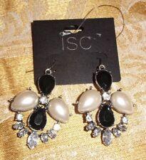 Black Pearl Rhinestone Hook Pierced Earrings Isc New Vintage Look Silver Tone
