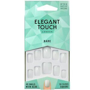 Elegant Touch 48 x Bare SQUARE False Nail Tips and Glue Moisture Free For Polish