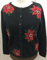 Milano Christmas Sweater Black Womans M Poinsettia Embroidery Holiday Cardigan
