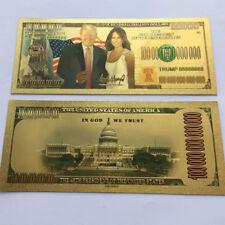 5 Donald & Melania Trump 24K Gold Plated Dollars Bill Bookmark Novelty Banknote