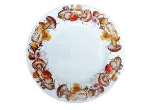 """9.4"""" Porcelain Dinner Plate with Mushroom Pattern by Dulevo, Russia"""