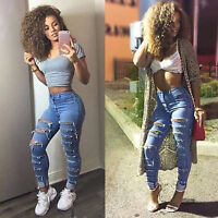 Women's Jeans Ripped Skinny Stretch Casual Slim High Waist Trousers Pencil Pants