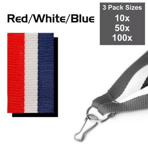 PACK OF 10x RED,WHITE,BLUE MEDAL RIBBONS WITH CLIPS WOVEN 22mm WIDE, 3 PACK SIZE