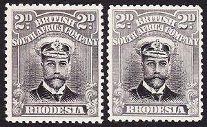 Rhodesia 1913 2d DIE 1 PERF 14 x2 SHADES SG 209 MLH OG