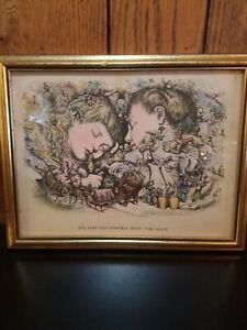 rare antique Thomas Nast Christmas engraving  1890. Hand colored