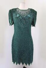 Vtg Green Silk Beaded Sequin Evening Cocktail Dress Size L Short Sleeve Mesh
