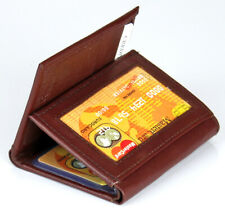 New Mens Brown Genuine Leather Trifold Wallet ID Window Credit Card Case Holder