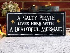Salty Pirate Beautiful Mermaid Sign Beach Cottage Wood Coastal Decor