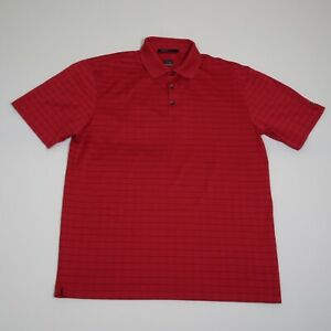 Nike Tiger Woods Collection Fit Dry Red Striped S/S Golf Polo Shirt Size Large