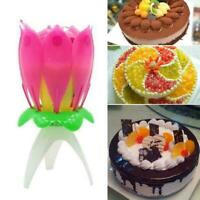 1pc Magic Cake Birthday Lotus Flower Candle Blossom Musical Rotating Decoration