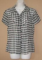 Womens Size Medium Short Sleeve Blue Patterned Sheer Career Blouse Top Shirt