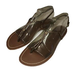 Ralph Lauren Women's Flat Bronze Metallic Braided T-Strap Thong Sandals Size 8B