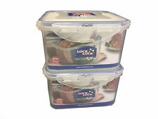 LOCK & LOCK Airtight Plastic Containers 1.2Litre Pack of 2 HPL822D Square Short