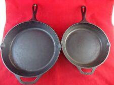 Vintage LODGE Cast iron fry pan No. 8 &10 frying skillet Cooking  Medium & Large