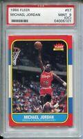 1986 Fleer Basketball #57 Michael Jordan Rookie Card RC Graded PSA MINT 9 OC