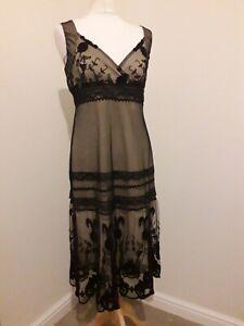 NEXT Evening Dress * Black Lace Nude Lining * 20s Style * Arts & Crafts * Sz 12