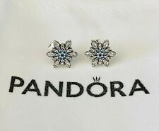 Authentic PANDORA Stud Earrings Clear & Blue Crystalized Snowflake #290590NBLMX