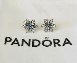 PANDORA Stud Earrings Clear & Blue Crystalized Snowflake #290590NBLMX