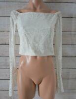 Bec & Bridge Top Crop Knit Size 10 White Medium Off Shoulder Long Sleeve Lace
